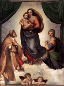 The Sistine Madonna, by Raphael, 11513-14, Oil on canvas, 270x201cm, Gemaldegalerie , Dresden, Image courtesy Web Gallery of Art.
