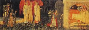 The Achievement of the Grail by British Artist Sir Edward Burn-Jones design, William Morris execution and John Henry Dearle flowers and decorations, from the Holy Grail tapestries 1891-94, Museum and Art Gallery of Birmingham, wool and silk on cotton warp.