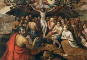 The Sacrifice of Jesus Christ, Son of God, Gathering and Protecting Mankind, Frans Floris 1562, oil on panel, 65 X 90.6 inches, Louvre Museum, Image Web Gallery of Art