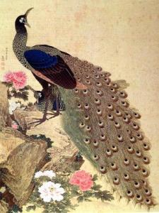 Peacocks and Peonies, Ngasawa Rosetsu, 1776, color on silk, 51 1/3 x 38 7/8 in. Imperial Household Collection, Tokyo Japan
