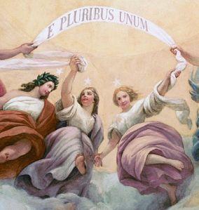Apotheosis of Washington, detail, E Pluribus Unum, Constantino Brumidi, fresco, 1865 Image Michael Edward McNeil,