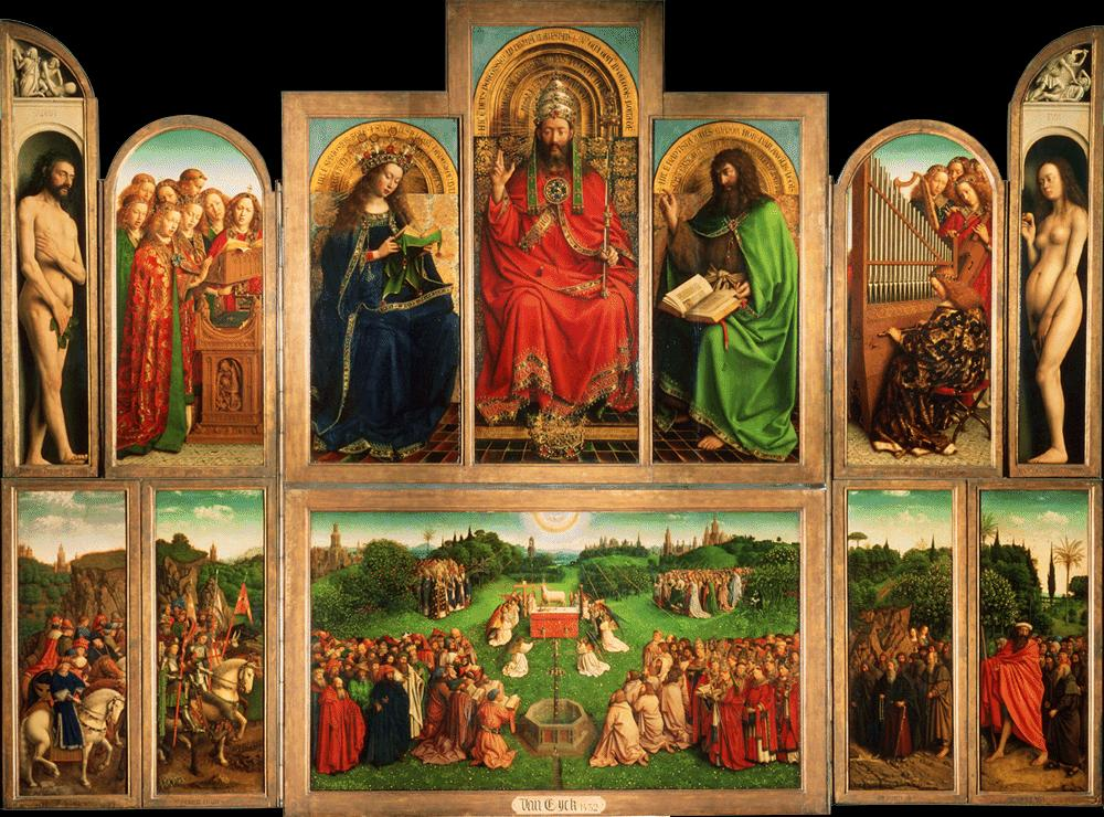 The Ghent Altarpiece, The Adoration of the Mystic Lamb, 1432, Jan van Eyck, oil on panel 461 X 350 cm located in Ghent Belgium in the St. Bravo Cathedral