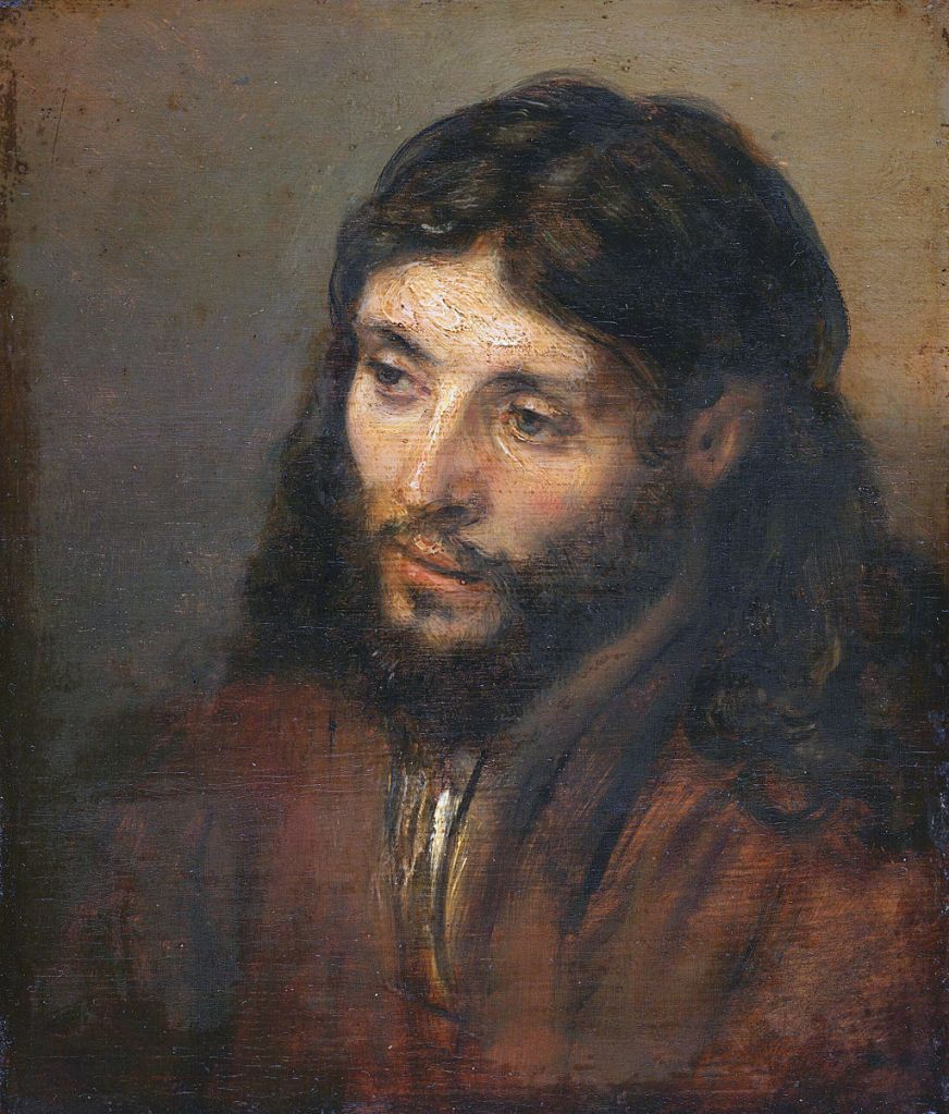 Head of Christ, Rembrandt, circa 1648, oil on panel, 9.8 x 8.5 inches. Gemaldegalerie, Berlin. image source
