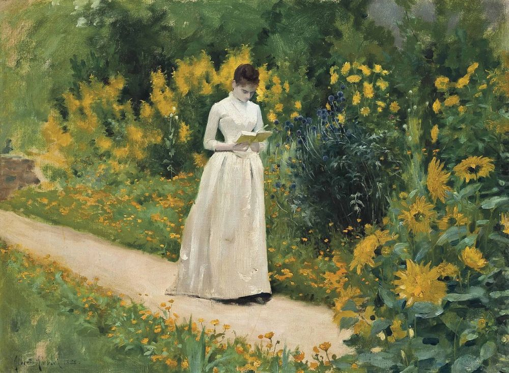 Albert_Aublet_-_Reading_on_the_garden_path_(1883)