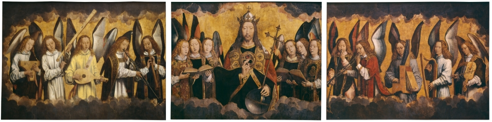 Hans_Memling_-_Christ_with_Singing_and_Music-Making_Angels_-_KMSKA_778-780