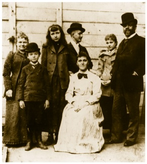 Dvorak with his family and friends as they arrive in New York in 1893. Wife Anna, Son Antonin, Friend Saidie Siebert and Josef Jan Korvarik and Sadie's mother, daughter Otillie, Antonin Dvorak.